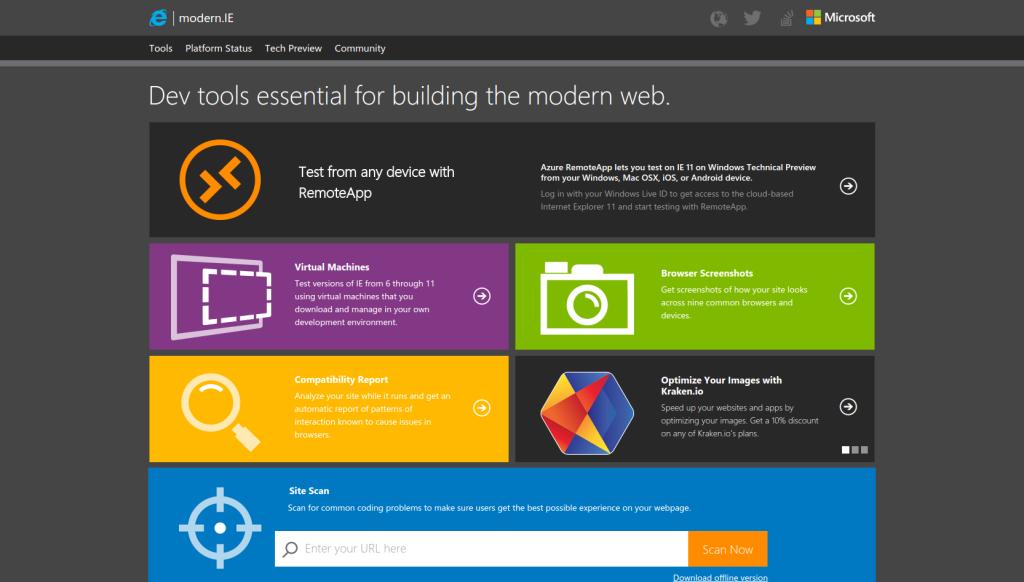 modern.ie - Interoperability  Browser Cross Platform Testing