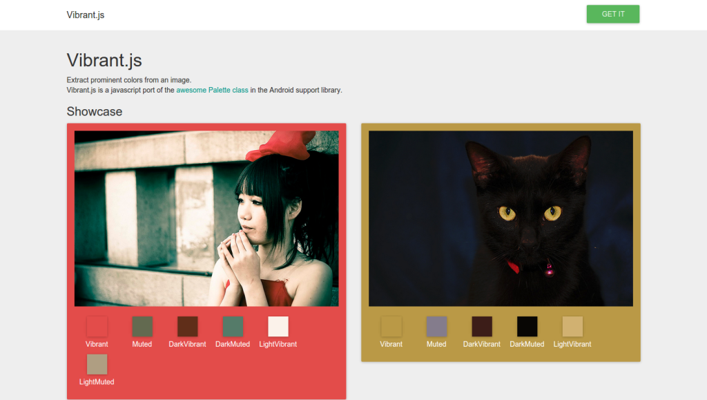 Vibrant.js   Extract prominent colors from an image